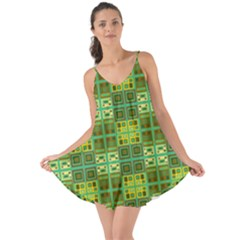 Mod Yellow Green Squares Pattern Love The Sun Cover Up