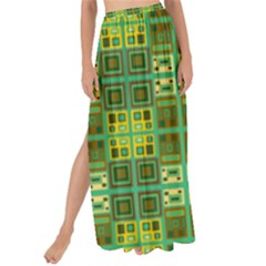 Mod Yellow Green Squares Pattern Maxi Chiffon Tie Up Sarong by BrightVibesDesign