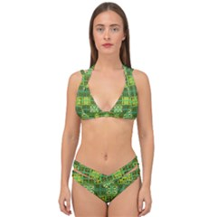 Mod Yellow Green Squares Pattern Double Strap Halter Bikini Set