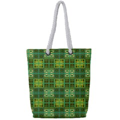 Mod Yellow Green Squares Pattern Full Print Rope Handle Tote (small)