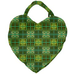 Mod Yellow Green Squares Pattern Giant Heart Shaped Tote by BrightVibesDesign