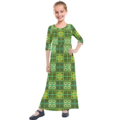 Mod Yellow Green Squares Pattern Kids  Quarter Sleeve Maxi Dress
