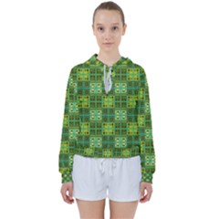 Mod Yellow Green Squares Pattern Women s Tie Up Sweat