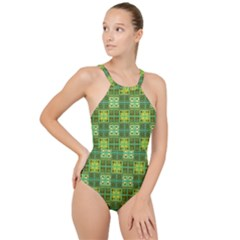 Mod Yellow Green Squares Pattern High Neck One Piece Swimsuit