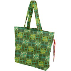 Mod Yellow Green Squares Pattern Drawstring Tote Bag by BrightVibesDesign