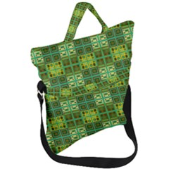 Mod Yellow Green Squares Pattern Fold Over Handle Tote Bag