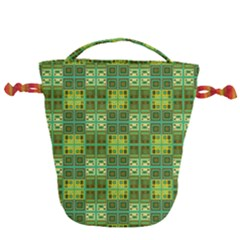 Mod Yellow Green Squares Pattern Drawstring Bucket Bag