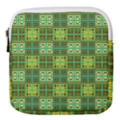 Mod Yellow Green Squares Pattern Mini Square Pouch