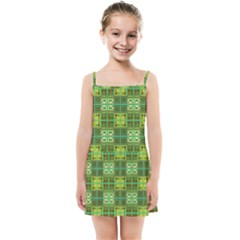 Mod Yellow Green Squares Pattern Kids Summer Sun Dress