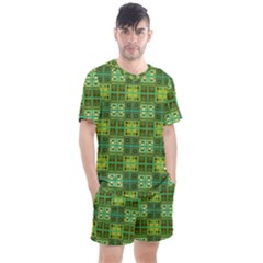 Mod Yellow Green Squares Pattern Men s Mesh Tee And Shorts Set