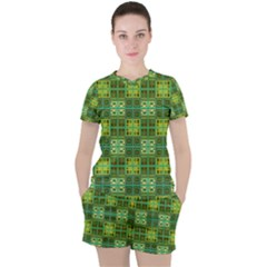 Mod Yellow Green Squares Pattern Women s Tee And Shorts Set