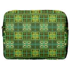 Mod Yellow Green Squares Pattern Make Up Pouch (large)