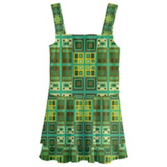 Mod Yellow Green Squares Pattern Kids  Layered Skirt Swimsuit