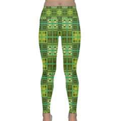 Mod Yellow Green Squares Pattern Lightweight Velour Classic Yoga Leggings