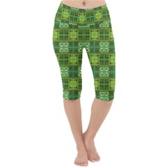 Mod Yellow Green Squares Pattern Lightweight Velour Cropped Yoga Leggings