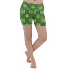 Mod Yellow Green Squares Pattern Lightweight Velour Yoga Shorts by BrightVibesDesign