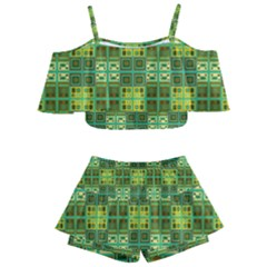 Mod Yellow Green Squares Pattern Kids  Off Shoulder Skirt Bikini by BrightVibesDesign