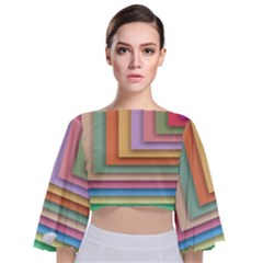 Colorful Wallpaper Abstract Tie Back Butterfly Sleeve Chiffon Top