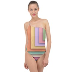 Colorful Wallpaper Abstract Classic One Shoulder Swimsuit
