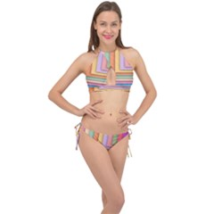 Colorful Wallpaper Abstract Cross Front Halter Bikini Set