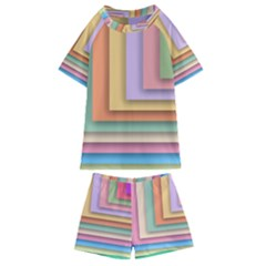 Colorful Wallpaper Abstract Kids  Swim Tee And Shorts Set