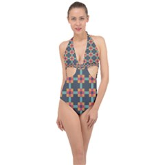 Abstract Background Halter Front Plunge Swimsuit