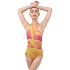 Abstract Art Background Beautiful Cross Front Low Back Swimsuit