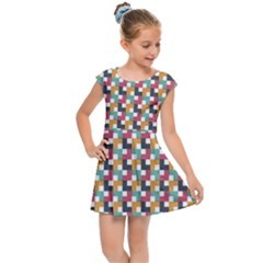 Background Abstract Geometric Kids Cap Sleeve Dress by Simbadda