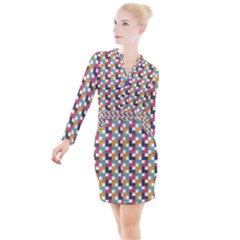 Background Abstract Geometric Button Long Sleeve Dress
