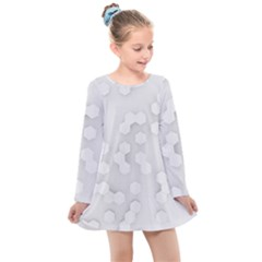White Abstract Wall Paper Design Frame Kids  Long Sleeve Dress
