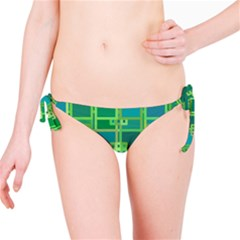 Green Abstract Geometric Bikini Bottom