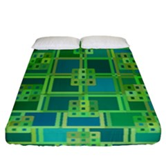 Green Abstract Geometric Fitted Sheet (california King Size) by Simbadda