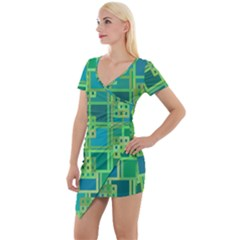 Green Abstract Geometric Short Sleeve Asymmetric Mini Dress by Simbadda