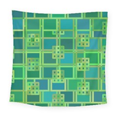 Green Abstract Geometric Square Tapestry (large)