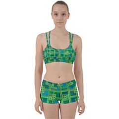 Green Abstract Geometric Perfect Fit Gym Set