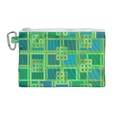 Green Abstract Geometric Canvas Cosmetic Bag (large) by Simbadda