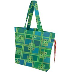 Green Abstract Geometric Drawstring Tote Bag by Simbadda