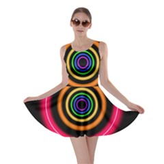 Neon Light Abstract Pattern Lines Skater Dress
