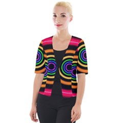 Neon Light Abstract Pattern Lines Cropped Button Cardigan