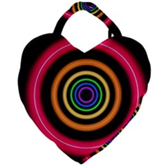 Neon Light Abstract Pattern Lines Giant Heart Shaped Tote