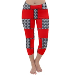 Black And White Red Patterns Capri Winter Leggings