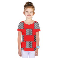 Black And White Red Patterns Kids  One Piece Tee