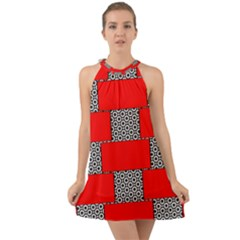 Black And White Red Patterns Halter Tie Back Chiffon Dress