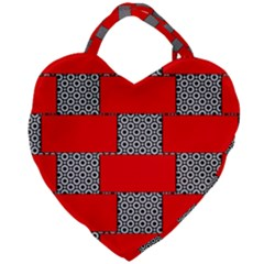 Black And White Red Patterns Giant Heart Shaped Tote by Simbadda