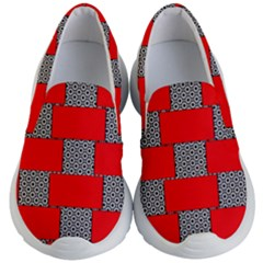 Black And White Red Patterns Kid s Lightweight Slip Ons by Simbadda