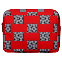 Black And White Red Patterns Make Up Pouch (large) by Simbadda
