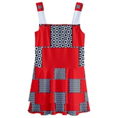 Black And White Red Patterns Kids  Layered Skirt Swimsuit