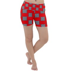 Black And White Red Patterns Lightweight Velour Yoga Shorts