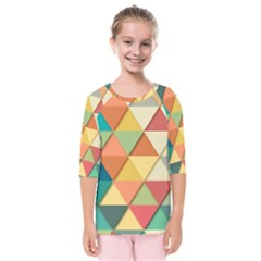 Background Geometric Triangle Kids  Quarter Sleeve Raglan Tee