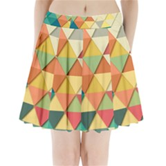 Background Geometric Triangle Pleated Mini Skirt